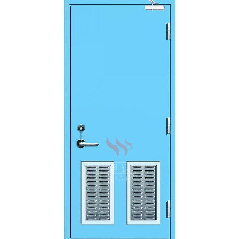 120 minutes Blue color fire rated steel doors with louver