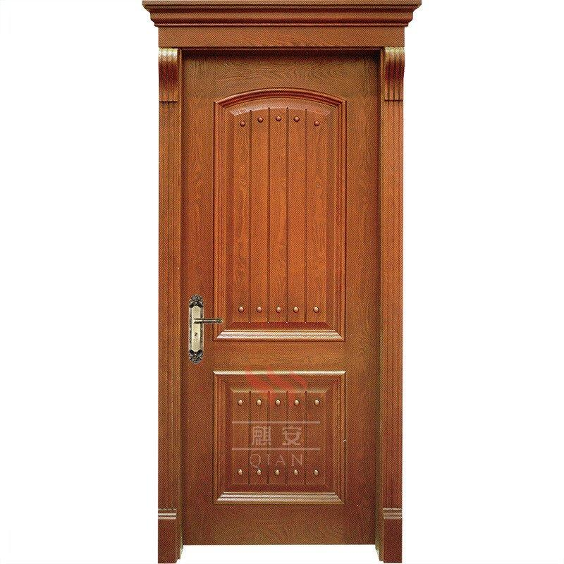 PU coated solid wood doors plain solid fancy wood entry doors design