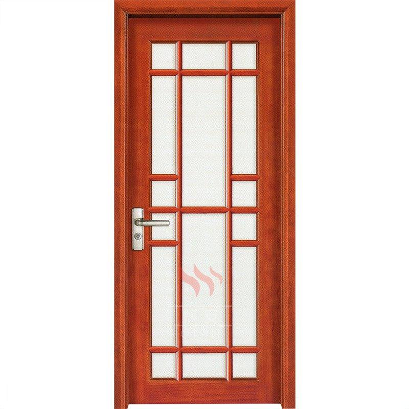 Solid wood interior door with frosted glass inserts