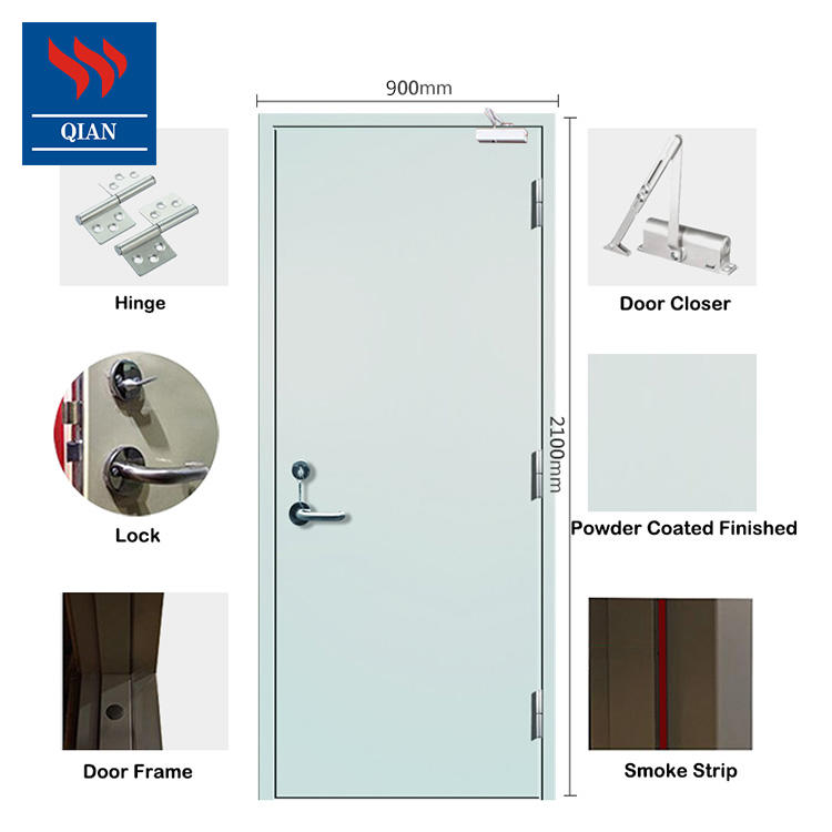BS certificated 90 minutes fire rated steel door with louver