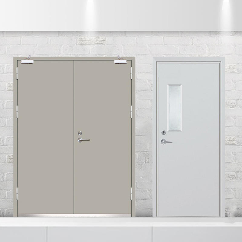 2 hour fire rated vision panel galvanized steel fire exit doors with push bar