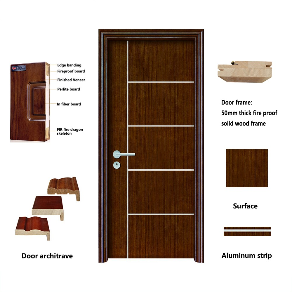 Qian-Professional 60 Minutes Fire Resistant Wood Door For Apartment Supplier-3