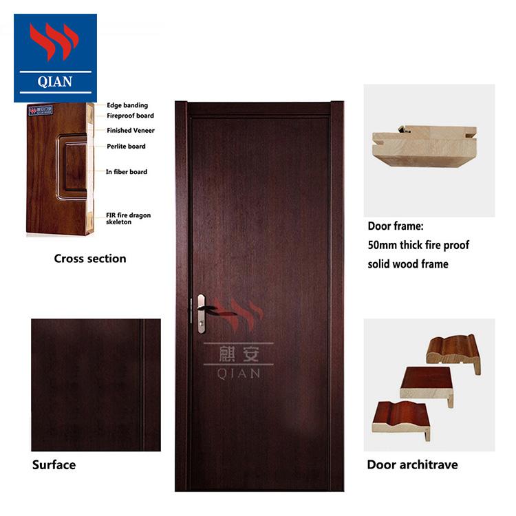 Qian-Best 90 Minutes Open Painting Gray Color Fire Resistant Wooden Door Manufacture-3