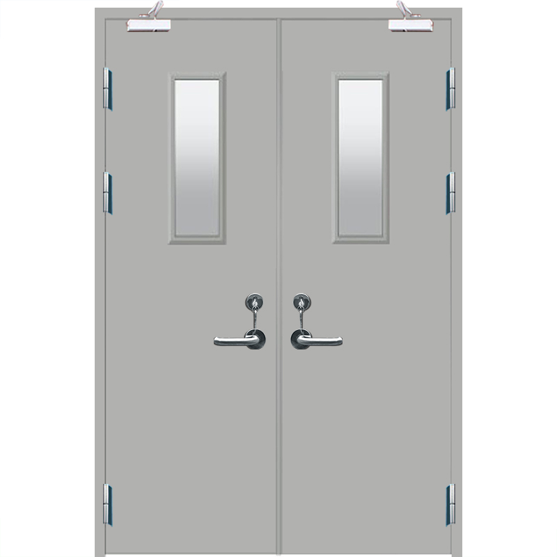 Qian-High Quality 2 Hour Fire Rated Vision Panel Galvanized Steel Fire Exit-9