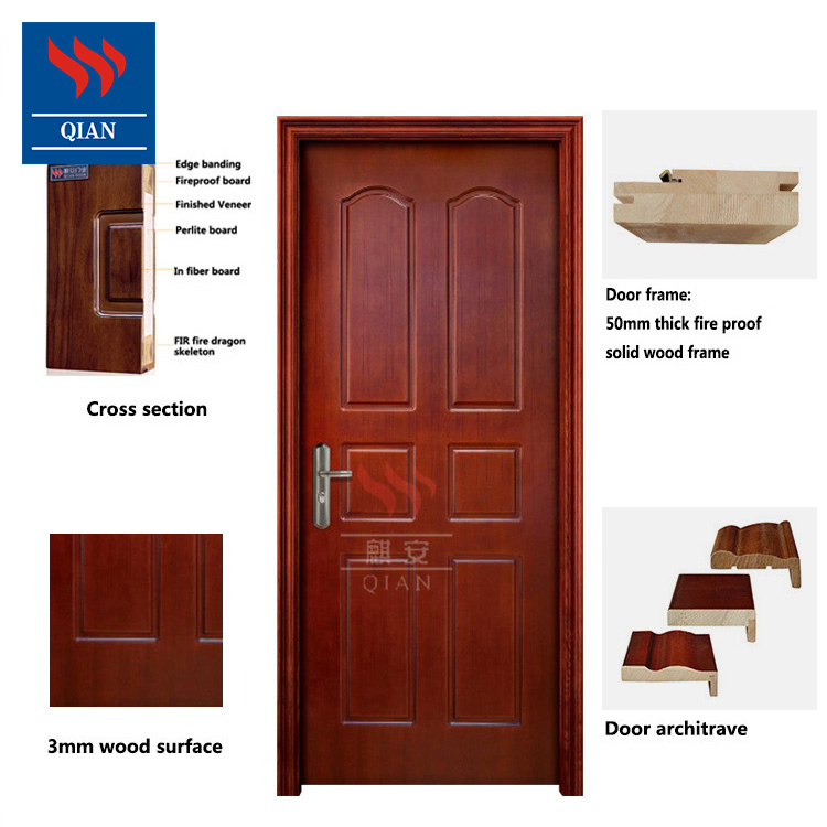 Qian-One Hour Anti Fire Rated Safe Wooden Fireproof Interior Doors Manufacturers-3