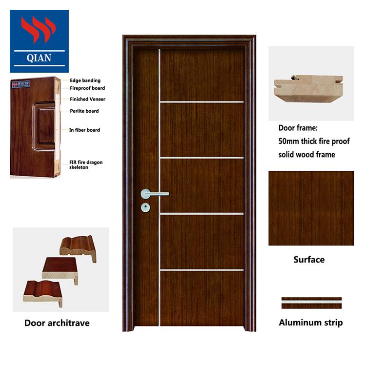 Qian-Custom Interior Solid Wood Fire Rated Timber Fireproof Wood Doors Modern-3